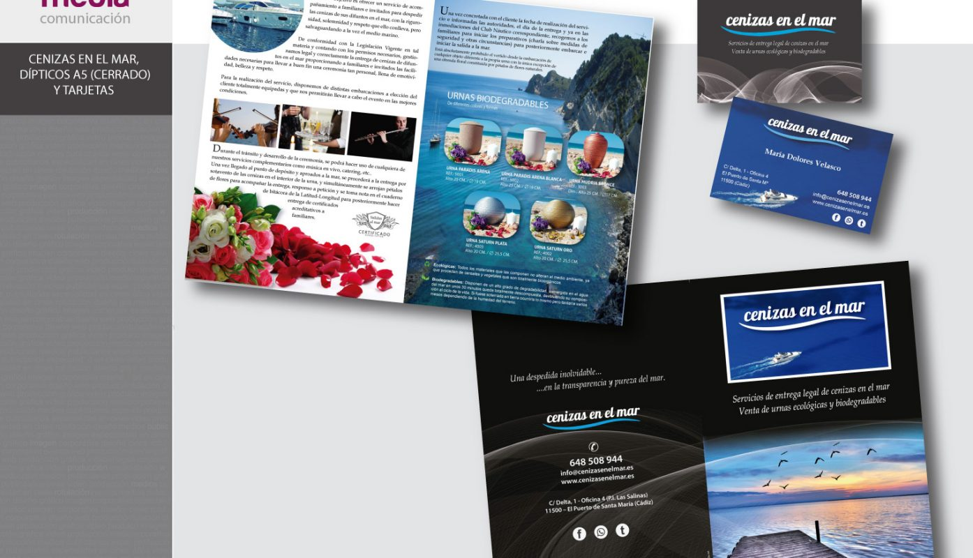 Cenizas en el mar, catálogo, folleto A5 y tarjetas