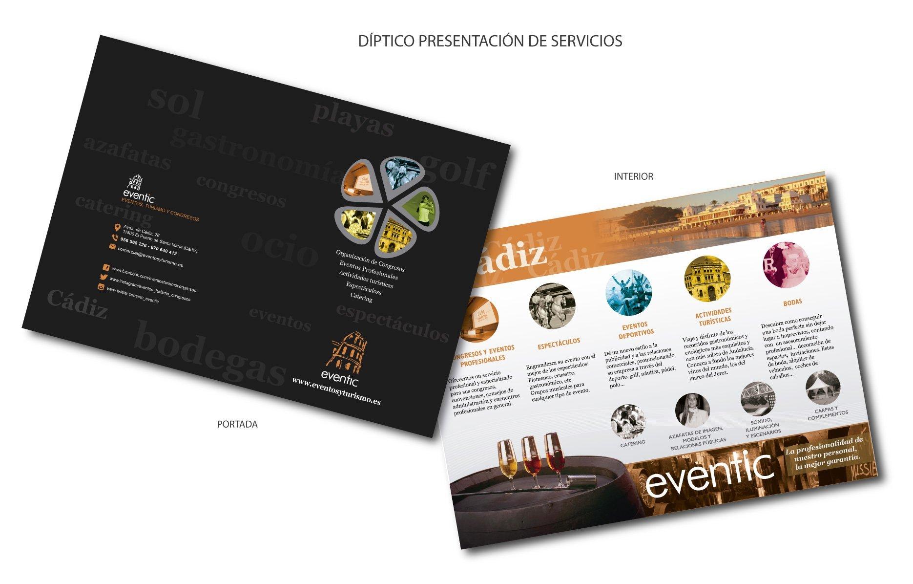 Servicios de publicidad. Diseño gráfico, rotulación, diseño web y hosting en Cádiz. Producción Díptico A4 plegado al centro