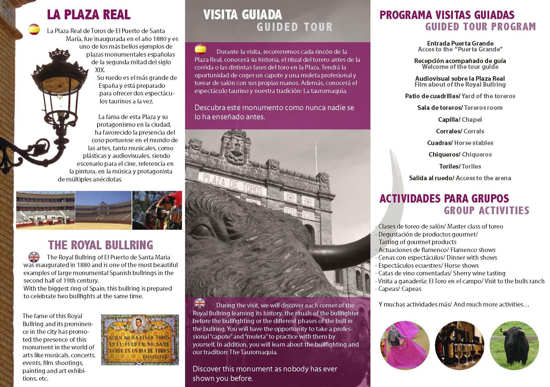 Servicios de publicidad. Diseño gráfico, rotulación, diseño web y hosting en Cádiz. Producción Tríptico Plaza Real de Toros